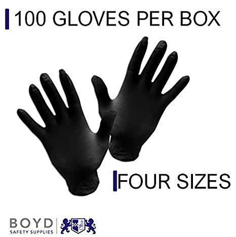 Box of 100 Medical Black Nitrile Powder And Latex Free Disposable Gloves Surgical Tattoo Cleaning Mechanic Cooking -Small