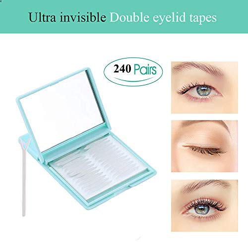 Ultra Invisible Fiber Double Eyelid Tapes - 240 Pairs One Side Eyelid Stickers - Instant Eyelid Lift Without Surgery, Perfect for hooded, droopy, uneven, or mono-eyelids, Random Color (Medium) (Surgery Lift Eyelid)