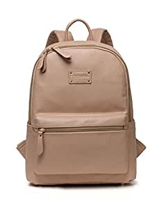Colorland Stylish Diaper Backpack Faux Leather Bag with 9 Pockets and Changing Pad for On-the-go Parents (Khaki)