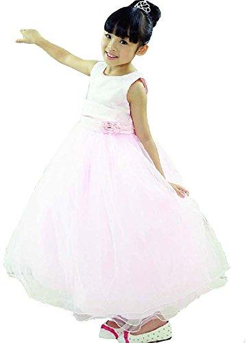 getmorebeauty Girls Pink Layered Flower Girl Wedding Pageant Princess Communion Dresses 130CM