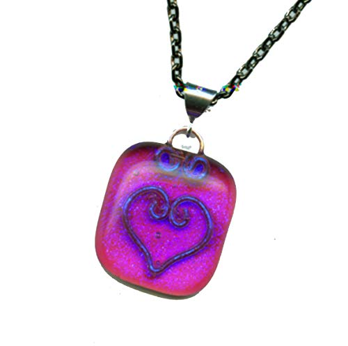 Blue Dichroic on Pink Fused Glass Pendant Copper Wire Heart