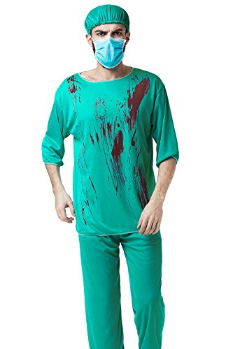 Adult Men Evil Surgeon Halloween Costume Bloody Scrubs Killer Doctors Dress Up (Medium/Large, Green)