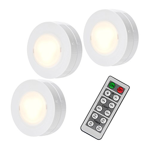SOLLED Wireless LED Puck Lights with Remote Control, Battery Powered Dimmable Kitchen Under Cabinet Lighting, 4000K Natural Light-3 Pack Under Natural