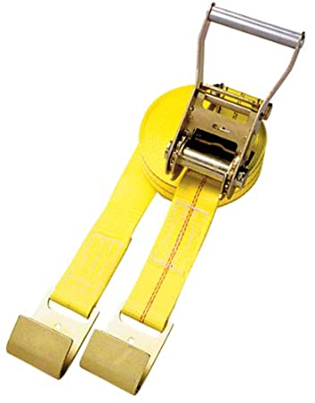 Security Chain Company CC2830 30 Yellow 2 Inline Ratchet Strap with Wide Handle Ratchet and J-Hooks