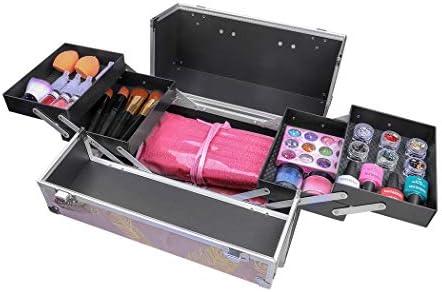 Glow - Neceser profesional para maquillaje, joyas, esmaltes de uñas, caja de belleza, accesorios de belleza, estuche de almacenamiento Hojas de oro rosa: Amazon.es: Belleza