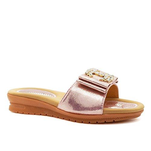 London Footwear - talón abierto mujer oro rosa