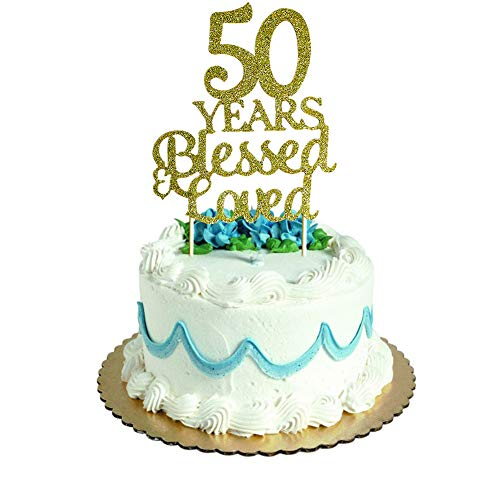 (50 Years Blessed & Loved Cake Topper for 50th Birthday, Wedding Anniversary Party Decorations Gold Glitter)