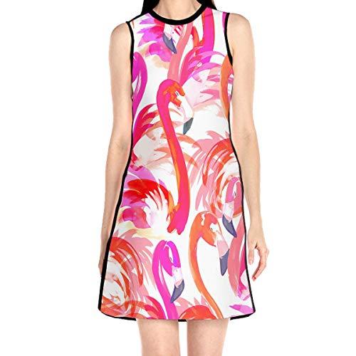 Women¡¯s Sleeveless Scuba Sheath Dress Flamingo Abstract Print Casual/Party/Wedding Dress L White