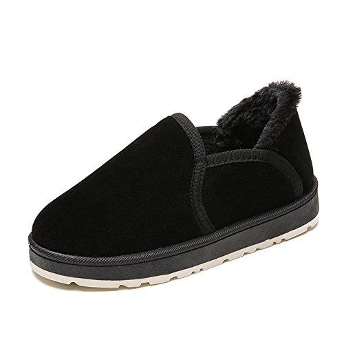 Black Women Fur Slippers Booties Indoor Btrada Cotton Snow Lining Flat Platform Outdoor Winter Moccasin Cozy Hqdwd86