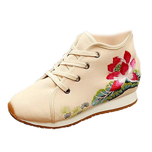 Beige Lotus Lace Suola Fanwer Scarpe Casual Women Aumentata Con Embroidery Morbida Walking Up Travel dOdnqE