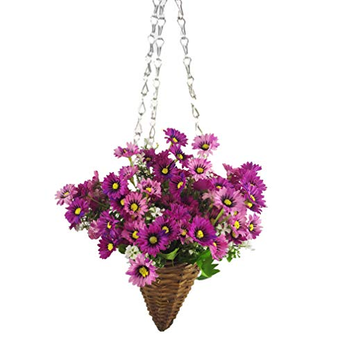 Mynse Full Assembled Hanging Willow Planter Cone and Artificial Aster Flower for Balcony Decoration