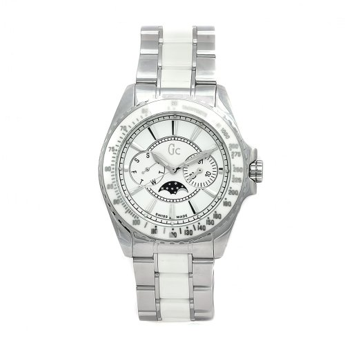 GUESS Unisex 41005M1 GC Moonphase White Ceramic White Dial Watch