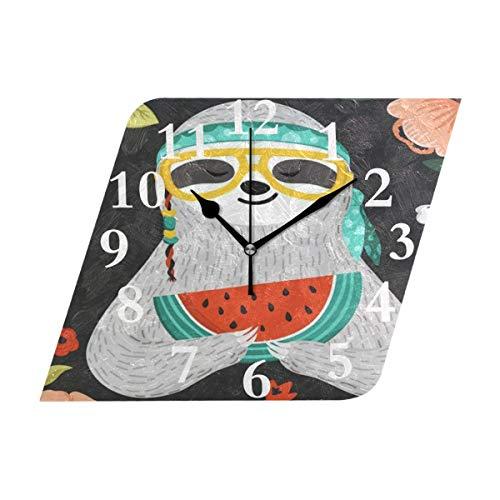NMCEO Rhombus Wall Clock Cute Sloth is Practicing Yoga Acryl