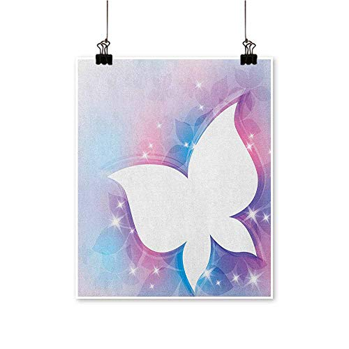 Unpremoon Butterfly,Art Wall Paintings Abstract Floral White Butterfly Silhouette on a Magical Spring Meadow Print W20 xL24 Paintings for Living Room (Floral Art Silhouette Metal Wall)