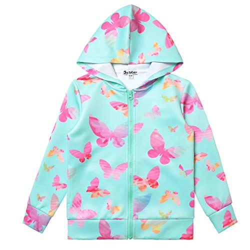 Blue Girls Zip Up Jackets 7-16 Unicorn Zipper Hoodie ()