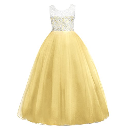 5-16T Little Big Girls Floor Length Lace Tulle Bridesmaid Dress Flower Wedding Pageant Party Prom Long Maxi Evening Dance Gown Yellow -