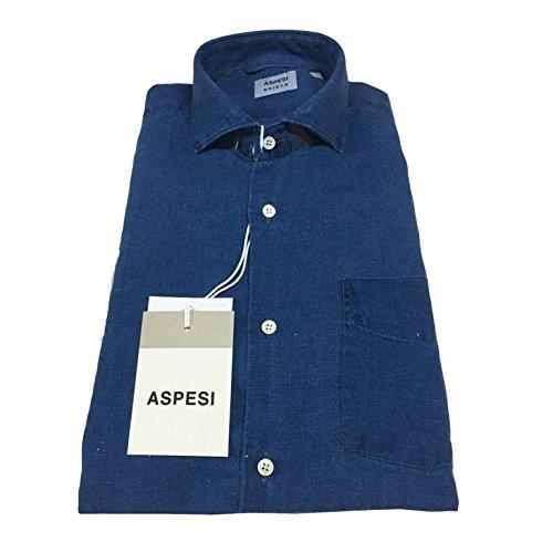 35b1490116 ASPESI Camicia Uomo Blu Denim Tinto in Capo MOD Sem II CE52 E309 100 ...