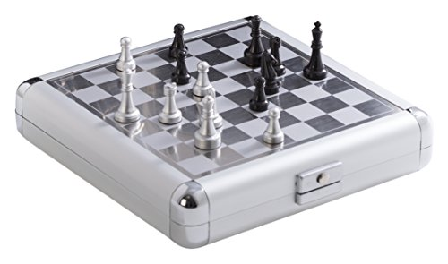 Bey-Berk AJ-G517 Magnetic Chess and Backgammon Set in Stainless Steel Case, - Steel Set Chess Stainless