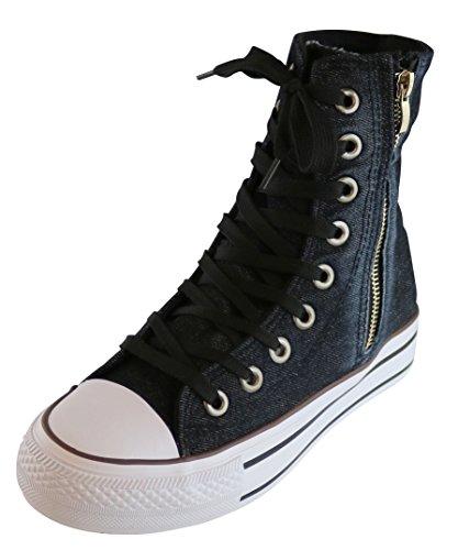 S-3 Women's Extra Hi Top Lace-Up Cap Toe Zipper Casual Fashion Sneaker (8 B(M) US, Black)