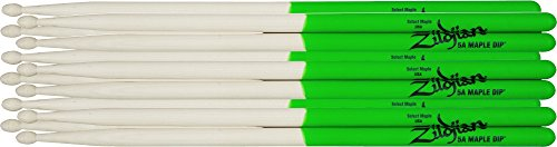 Dip Series Drumsticks - Zildjian Maple Green DIP Drumsticks 6-Pack Super 7A Wood Tip