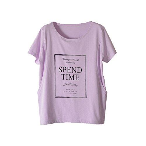 IUGENQL Donna Estive T-Shirt Pregnancy Stampa Cotone Allattamento Top Manica Corta Girocollo Moda Camicie Loose Comoda Gravidanza Maglietta Popolare Purple