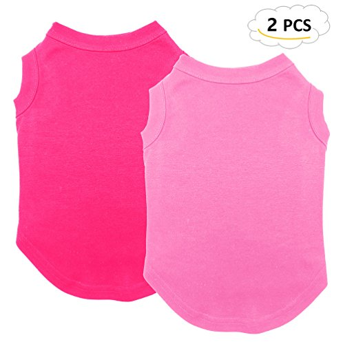 Chol&Vivi Shirts for Dog, Plain Dog T Shirt Vest Clothes Soft and Thin, 2pcs Blank Shirts Clothes Fit for Extra Small Medium Large Extra Large Size Dog Puppy, Medium Size, Pink and Rose Red