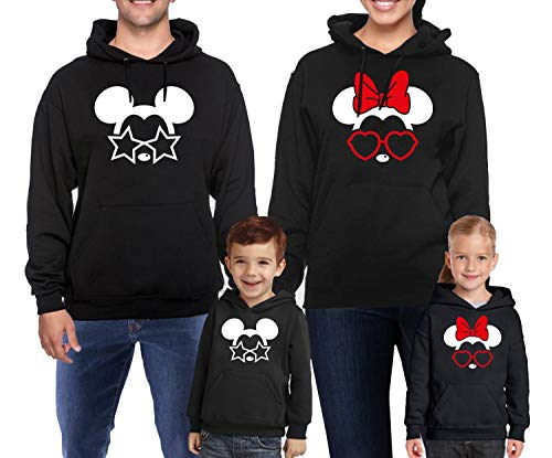 Mickey Mouse Xmas - Natural Underwear Family Trip 2019 Glasses and Stars Hoodies 2019 Xmas Gifts Trip Mouse Hooded Sweatshirts Pullover Sweaters Black Youth Girls Medium
