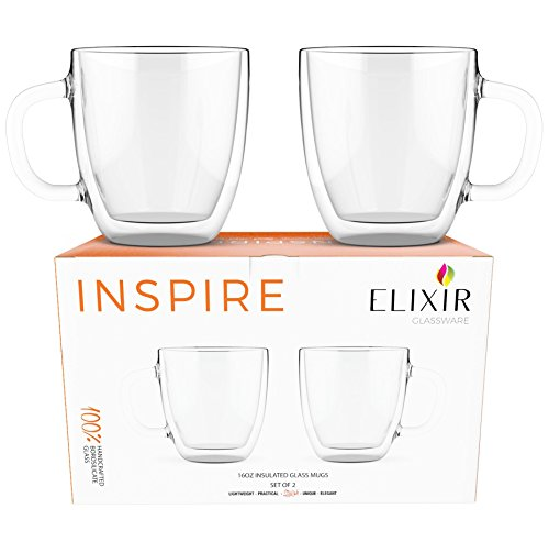 Review Large Coffee Mugs, Double Wall Glass Set of 2, 16 oz – Dishwasher & Microwave Safe – Clear, Unique & Insulated with Handle, By Elixir Glassware