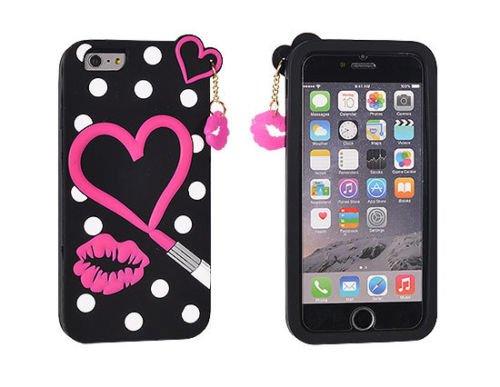 """BACK CASE 3D HERZ Lippenstift für Apple iPhone 7 4,7"""" Hülle Cover Case Schutzhülle Tasche"""
