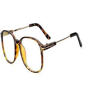 Vintage Retro Round Glasses Frame For Women Nerd Eyeglasses Frames Men Clear Fake Glasses Eyewear Oculos Optical Frame (Leopard)
