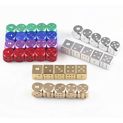 Jeu de d/és de poker en aluminium de haute qualit/é 5pcs en aluminium de dominos en m/étal Jeu de d/és portable Dice Poker Party Silver//Golden Hot