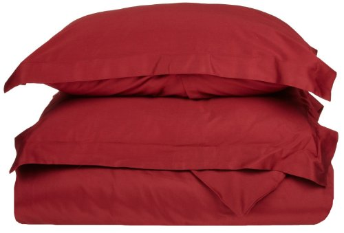 Superior 100% Premium Combed Cotton, Soft Single Ply Sateen, 2-Piece Duvet Cover Set, Solid, Twin/Twin XL - Burgundy ()