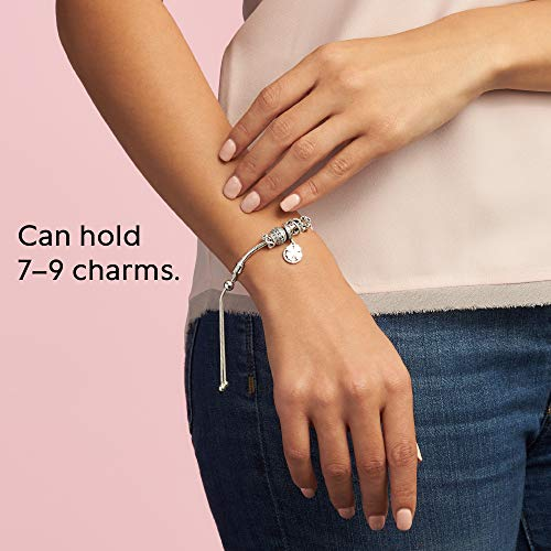 Pandora Jewelry Moments Slider Snake Chain Charm Cubic Zirconia Bracelet in  Sterling Silver, 11.0
