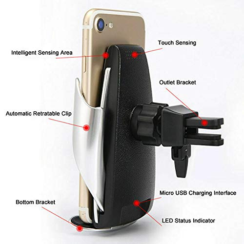 Supporto telefono wireless caricatore PER auto Infrarossi bloccaggio Intelligente e automatico Antiscivolo per iPhone X 8 plus Samsung Note Samsung Galaxy Note Huawei ect