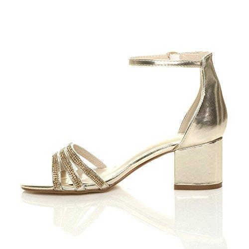 Ajvani Womens Ladies Low mid Block Heel Strappy Diamante Party Evening Sandals Shoes Gold u5L1LsRTG