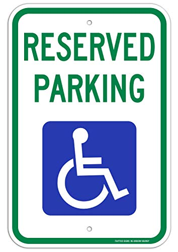 Parking Sign Aluminum Top - Reserved Parking Sign, Handicap Parking Sign, with Picture of Wheelchair Sign, 18