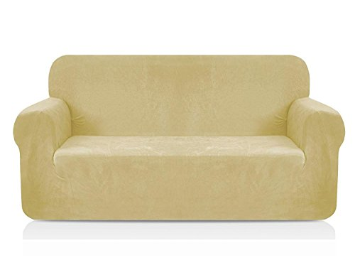 CHUN YI 1-Piece Coral Fleece Spandex Fabric Polyester Loveseat Couch Slipcover Soft and Stretch Sofa Cover Furniture Protector for 2 Seats Love seat Sofa (Loveseat, Beige) ()