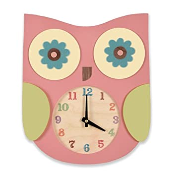 Amazon.com: Árbol por Kerri Lee búho reloj, rosa: Baby