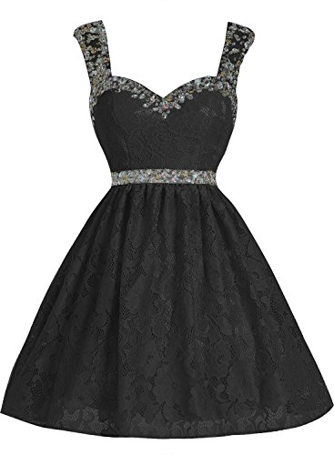 Bbonlinedress Vestido Corto de Encaje con Tirantes escote Corazón Negro