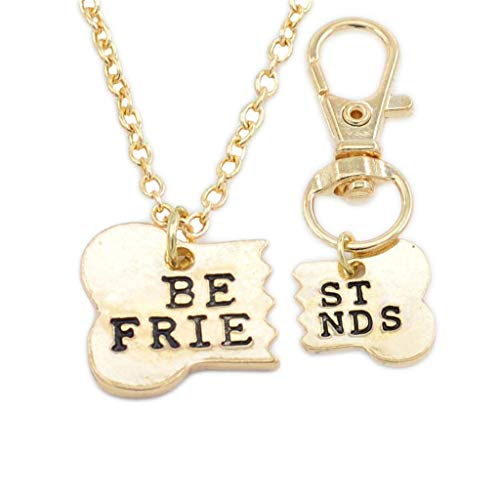 Litetao 2 PCS Best Friends Matching Necklace & Dog Tag Clip Fashion Funny Friendship Charm Bone Key Chain for Beach Travel Walking Friend Gift (Gold)