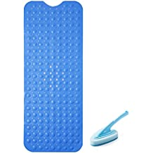 Somine Blue Non-Slip Bathtub Mat+ Cleaning Brush - Mold Resistant Bathroom Shower Tub Matting with Strong & Safety Suction Cups on the Backside and Top Drain Holes | 39 X 16 Inches