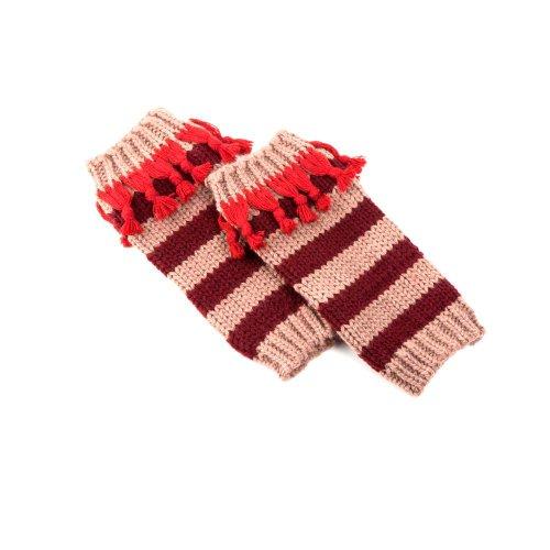Peppercorn Kids Girls Striped Legwarmers - One Size - Red / Beige