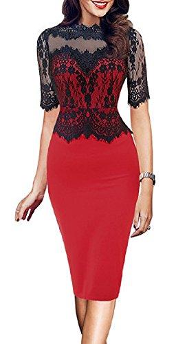 Elegant Peplum Trendy X Mesh Lace Women's Through Party C See Red Dress Cocktail qXt5x