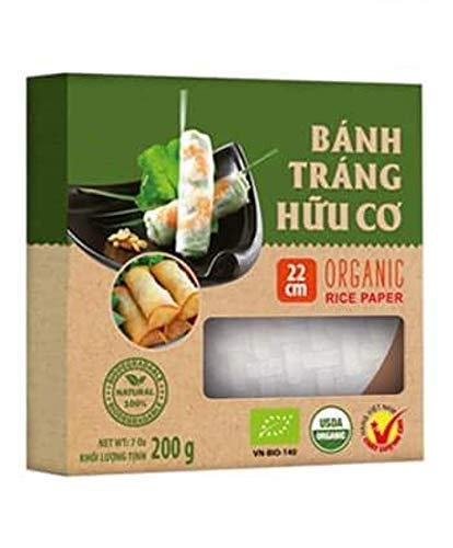 (3 Boxes of USDA Organic Spring Roll Rice Paper Wrappers, 22 centimeters, Apprx. 82 sheets Total (22 cms, 3 Packs))