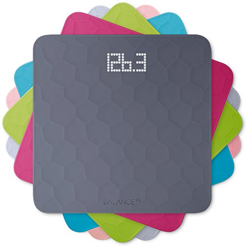 GreaterGoods Digital Scale for Body Weight, Silicone Top Bathroom Weighing Scale, Measures Lbs and KGs (Slate Grey)