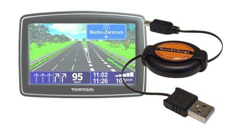- DURAGADGET Retractable Mini USB Satnav Data Sync Cable for Tomtom Start 25 Europe Traffic Navigations System, Tomtom Via 130