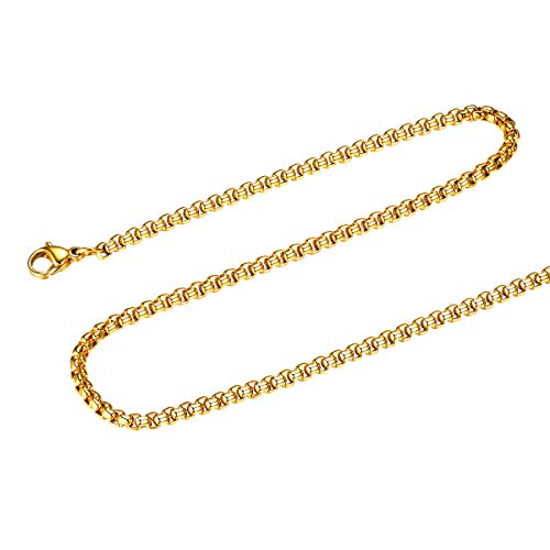 FOCALOOK 3MM Stainless Steel Mens Womens 18k Gold Plated Round Box Necklace Square Rolo Chain, 24 ()
