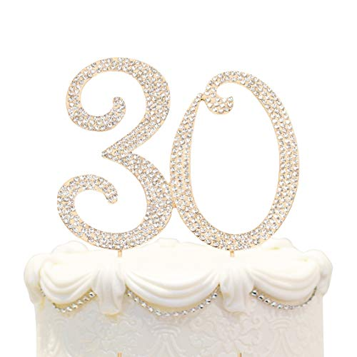 Hatcher lee Bling Crystal 30 Birthday Cake Topper - Best Keepsake | 30th Party Decorations Gold ()