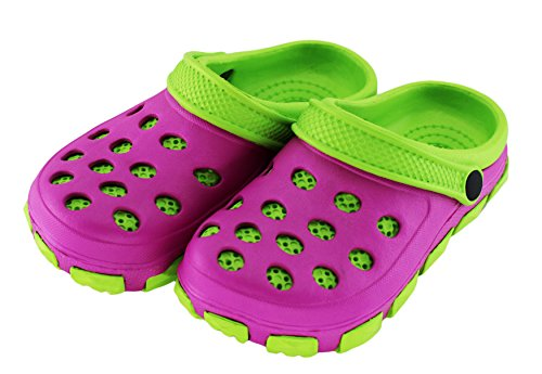 Kinder Clogs Pantoffel Schuhe Gartenschuhe Hausschuhe - Farbe: Pink/Grün - Größe: 30 - von Brandsseller