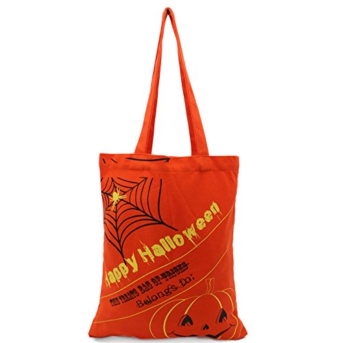 Halloween Theme Tote Bag, Trick or Treat Basket, Bucket for Kids Party, Daily Use, Carry Candy and Gifts (orange with spider)